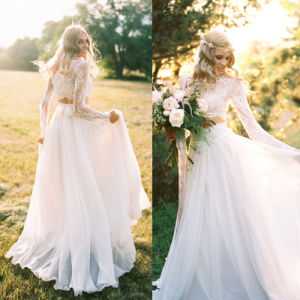 Chiffon Two Pieces Bridal Gowns Country Beach Lace Tulle Wedding Dress Wdo81 pictures & photos