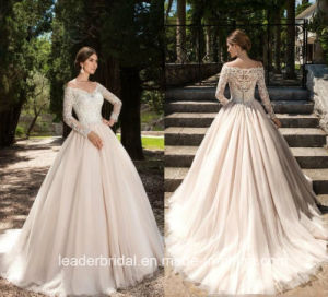 Lace Bridal Gown Long Sleeves V-Neck Wedding Dress 2017 M3207 pictures & photos