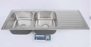 Stainless Steel Topmount Equal Double Bowl Kitchen Sink with Drainer Board pictures & photos