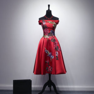 [Can Be Customized Embroidery]OEM Creation Damas Retro Style Red Dress Skirt a off Shouders pictures & photos