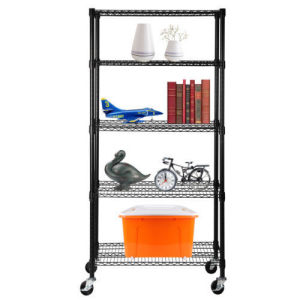 Black Epoxy Heavy Duty 5 Tier 800lbs Wire Shelving Rack Adjustable Steel Shelf pictures & photos
