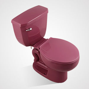 Ceramic Colourful Dual Flushing 2PC Toilet for Wholesales, Purplish Red