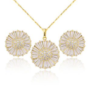 New Design Jewelry 18k Gold Plated Zircon Stone Earring Necklace Set pictures & photos