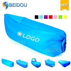 Nylon Inflatable Foldable Leisure Camping Beach Bed Inflatable Air Lounge Sofa Bed