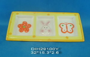 Hand-Painted Ceramic 3 Section Plates for Easter Decoration pictures & photos