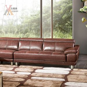 Red Leather Sofa Combination with Stainless Steel Leg (1622A) pictures & photos