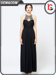 2017 Dresses Women Summer Party Black Sexy Halter Sleeveless Long Maxi Dress pictures & photos