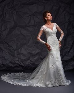 New Arrival 2017 Mermaid UK Wedding Dress with Long Sleeves pictures & photos