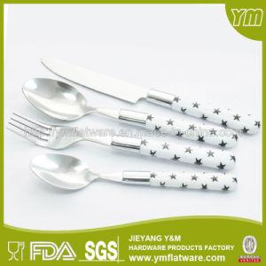 DOT Printing Plastic Handle Cutlery Set /Lines Pring Plastic Handle Flatware Set pictures & photos
