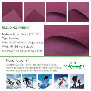 China Manufacturer High Quality Polar Fleece Bonded 4way Stretch Fabric with TPU pictures & photos