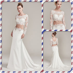 Illusion Lace Crop-Top Lace Trimmed Train Two-Piece Wedding Dress (Dream-100061) pictures & photos