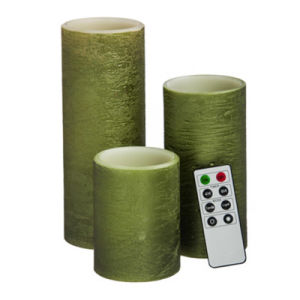 Green Pillar Flameless Electronic LED Candle for Home Decoration pictures & photos