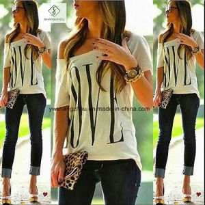 Factory Direct Fashion Short Sleeved Letter Cotton T-Shirt Women pictures & photos