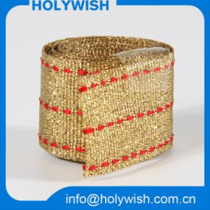 Fashion Custom Strap Gift Ribbon with Golden Metallic Wire pictures & photos
