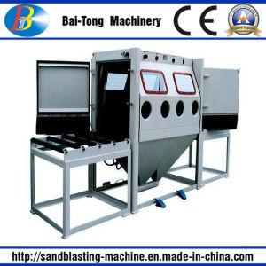 Double Work Position Manual Roller Conveyer Sandblasting Machine pictures & photos