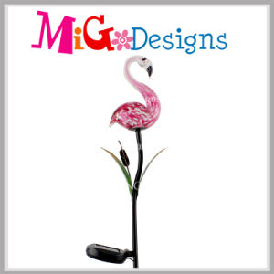 Hot Flamingos Glass Lamp Solar Garden Metal Stakes pictures & photos