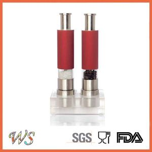 Wsymqly023 Red Color Thumb Salt and Pepper Grinder Set with Acrylic Stand pictures & photos