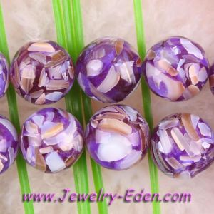 "14mm Purple Mother of Pearl Shell Round Beads 16"" (PT015)"