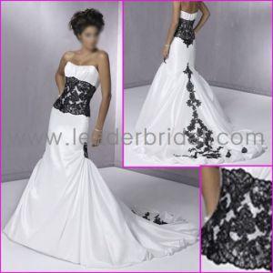 Strapless White Taffeta Black Lace Mermaid Bridal Wedding Dress (YY80) pictures & photos