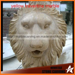 Yellow Travertine Marble Lions Head Wall Plaques pictures & photos