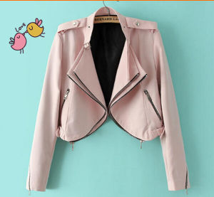 Ladies Fashion Leather PU Jacket Clothes pictures & photos