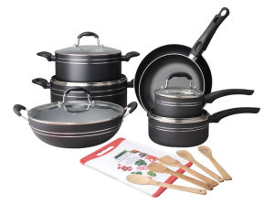 18PCS Pressed Aluminum Non-Stick Cookware Set