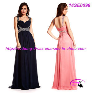 Black Sexy Prom Party Dress Full Length Chiffon Dress pictures & photos