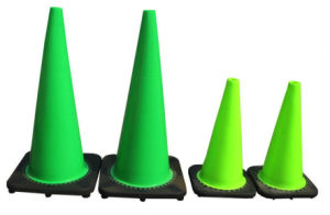 Lime Green Reflective Tape Traffic Safety PVC Road Cone pictures & photos