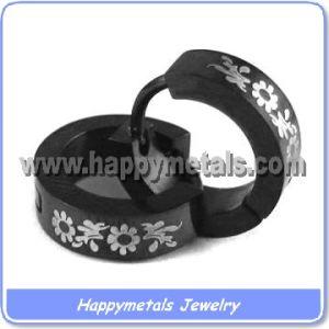 Black Stud Earrings with Laser Logo (E1102)