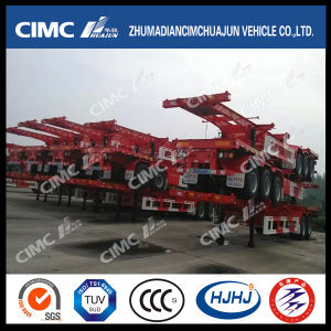 Cimc Huajun 40FT 3axle Straight-Beam Skeleton Trailer pictures & photos
