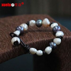 Fashion Real Leather Natural Baroque Freshwater Pearl Bracelet (E150057) pictures & photos
