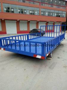 5 Tons Platform Farm Trailer with High Railing pictures & photos