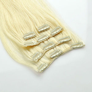 Wholesale High Quality Full Head Brazilian Remy Lace Weft Clip in Human Hair Extension