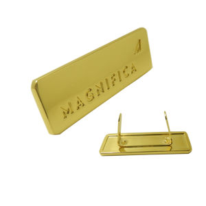 Gold Square Customized Engraved Logo Metal Plate pictures & photos