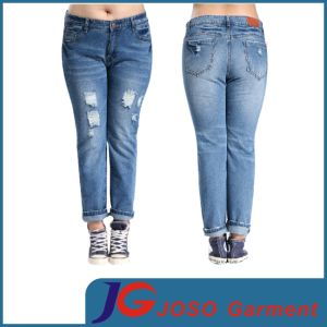 China Women Plus Size Denim Ripped Jeans (JC1271) - China Plus ...