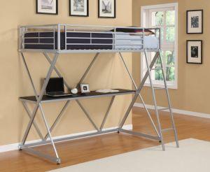 Full Metal Loft Bed Over Workstation Desk/Steel Loft Bunk Bed pictures & photos