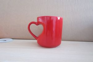Red Color Glazed Heart Shaped Ceramic Promotional Mug (WSY889M)