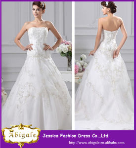 A Line Strapless Sweep Train Elegant Wedding Dress with Embroidery Wedding Dress