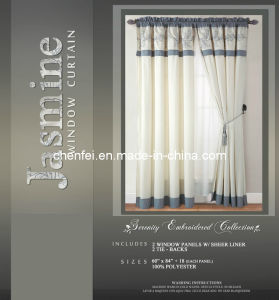 Embroidered Metal Rod Style Window Curtain