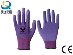 13G Polyester Shell Latex Foam Coated Work Gloves pictures & photos