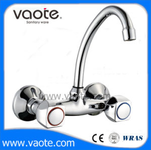 Geibe Series Double Handle Sink Wall Faucet (VT61702) pictures & photos