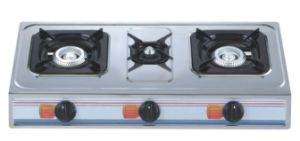 Deluxe Stainless Steel Panel Three Burner Gas Stove