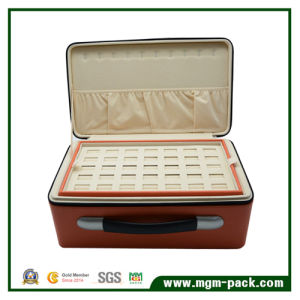 Luxury Leather Zipper Jewelry Storage Box with Portable pictures & photos