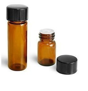 Amber Bottle with Black Cap