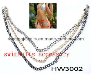 Metal Silver Chain for Lady Bikini Side Swimming Trunks (HW3002)