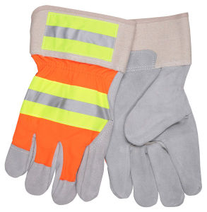 Orange Back Working Gloves with Contrast and Silver Reflective Stripe