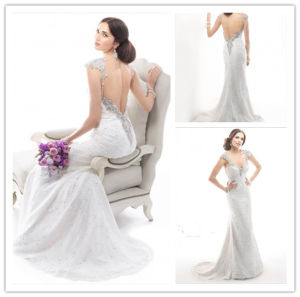 2014 New Design White Full Length Mermaid Sweetheart Cap Sleeve Sweep Train V-Back Sexy Wedding Dress (MQ1022) pictures & photos