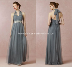 Jewelry Sash Evening Prom Gowns A-Line Gray Pleated Tulle Bridesmaid Dresses Z5090 pictures & photos