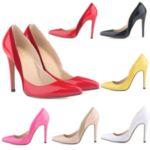 Patent Leather & Velvet Suede High Heels Shoe