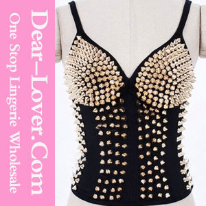 Gold Sexy Club Punk Rivet Waistcoat Top pictures & photos